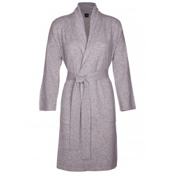100% CASHMERE GOWN light grey