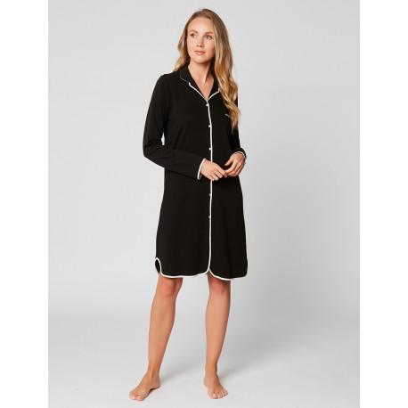 Chemise de nuit boutonnée en coton ESSENTIEL H05A Noir