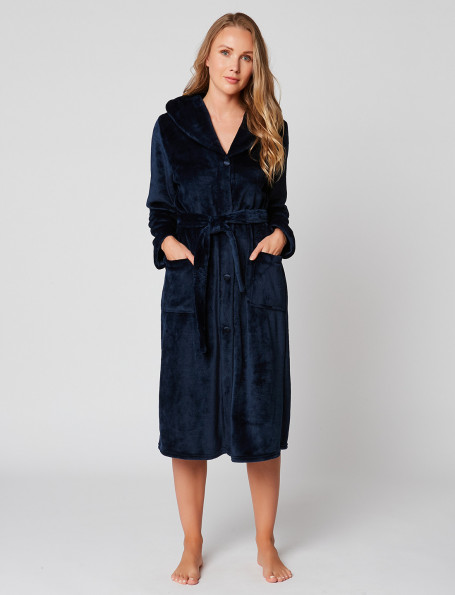 Fur button-down dressing gown in ESSENTIEL H50A Marine