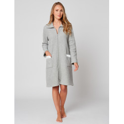 Zipped dressing gown in ESSENTIEL H54A Gris chiné