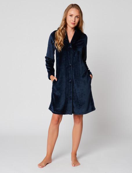 Fur Button-down dressing gown in ESSENTIEL H55A Marine