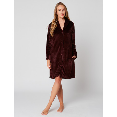 Fur Button-down dressing gown in ESSENTIEL H55A Prune
