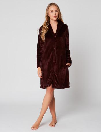 Fur Button-down dressing gown in ESSENTIEL H55A Prune