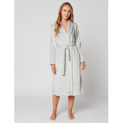 Fur wrap-over dressing gown in ESSENTIEL H60A Brume