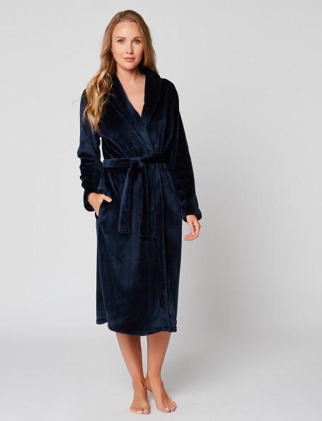 Fur wrap-over dressing gown in ESSENTIEL H60A Marine