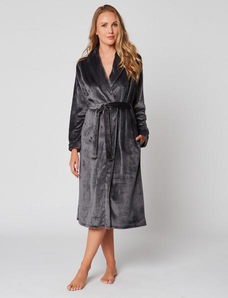 Fur wrap-over dressing gown in ESSENTIEL H60A Vison