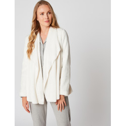 Fur draped loungewear jacket in ESSENTIEL H73A Ecru