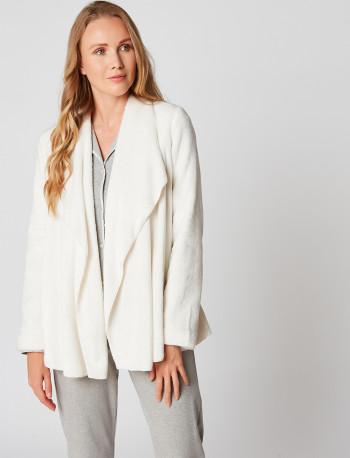 Fur draped loungewear jacket in ESSENTIEL H73A Ecru