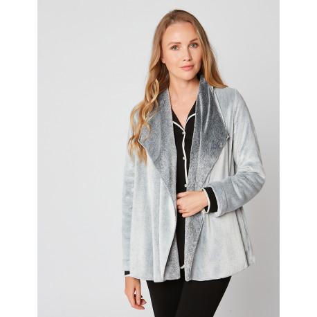 Fur draped loungewear jacket in ESSENTIEL H73A Gris