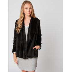 Fur draped loungewear jacket in ESSENTIEL H73A Noir