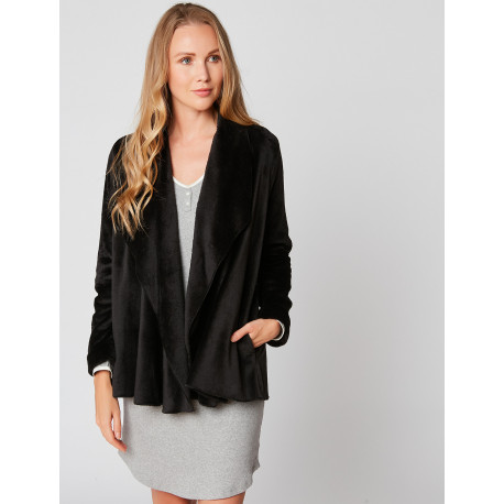 Fur draped loungewear jacket in ESSENTIEL H73A Noir