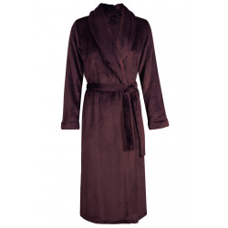 Fur wrap-over dressing gown in ESSENTIEL H60A Prune