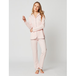 Button-down pyjamas 100% cotton ESSENTIEL H06A Bois de rose
