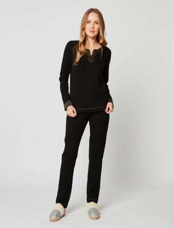 Pyjama en coton MAILLE LOVE 202 Noir