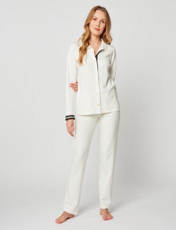 Pyjama boutonné en coton MAILLE LOVE 206 Ecru