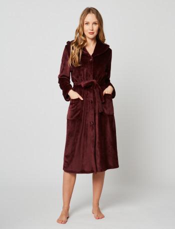 Fur button-down dressing gown in ESSENTIEL H50A Prune