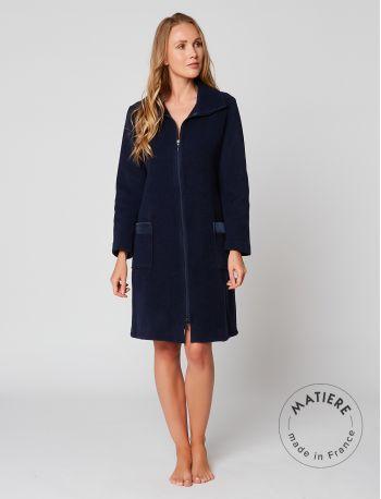 Zipped dressing gown in ESSENTIEL H54A Marine