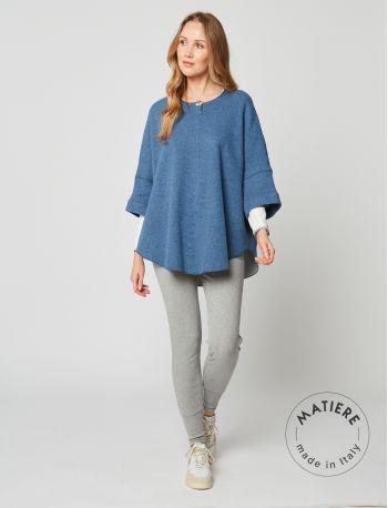 Woolen poncho ETOFFE 270 Blue fleck / Grey